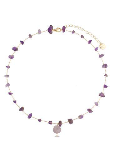 Naszyjnik łańcuszkowy z ametystami Violet Orchid Surprise NPA0410