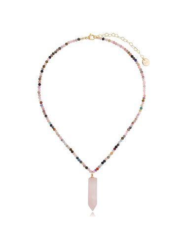 Naszyjnik kolorowy z kwarcem różowym NPA0332