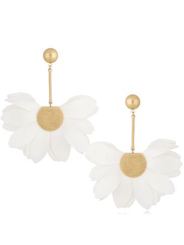 Kolczyki satynowe kwiaty Blossom złamana biel Big Daisy KBL0886