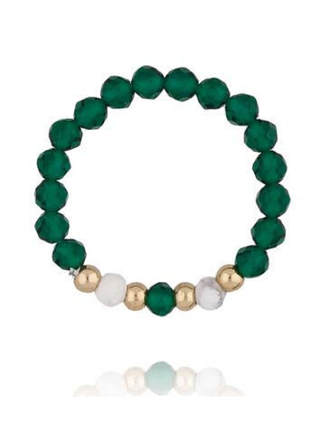 Pierścionek elastyczny z zielonymi kwarcami PSC0152
