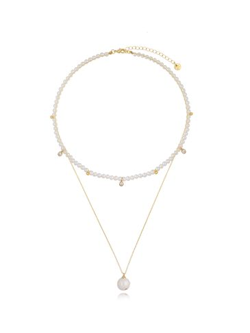 Naszyjnik z pereł i wisiora z perłą Double Pearls NPE0080