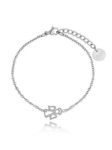 Bransoletka srebrna ze stali szlachetnej z aniołkiem BSA0123