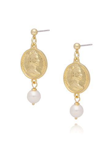 Kolczyki złote monety z perełkami KRG0590