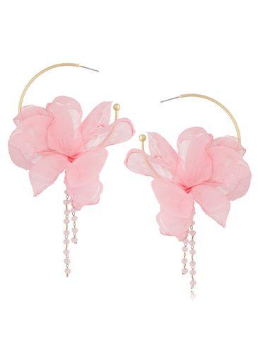 Kolczyki jedwabne kwiaty różowe KBL0815