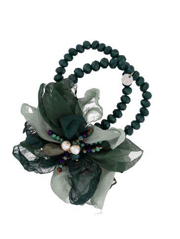 Bransoletka z kryształkami i ciemno zielonym kwiatem BBL0138