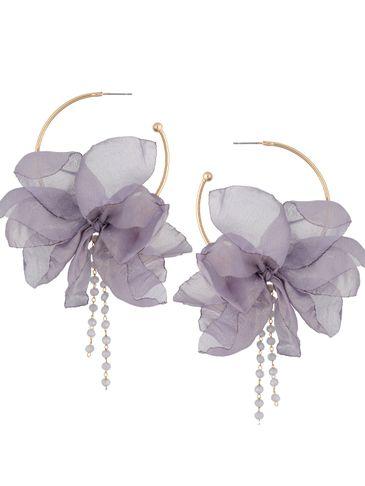Kolczyki jedwabne kwiaty szaro niebieskie połyskujące KBL0828