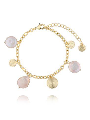 Bransoletka złota z perełkami i dyskami BPE0028