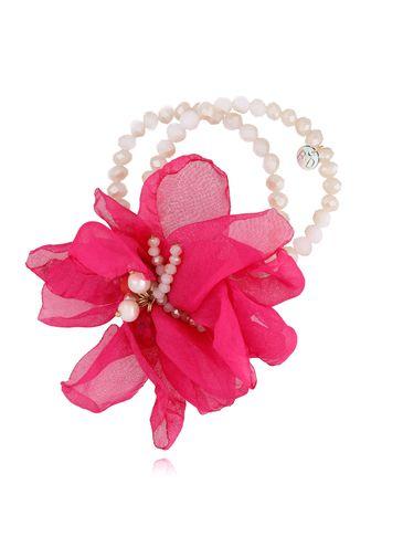 Bransoletka z kryształkami i  fuksjowym kwiatem  BBL0123