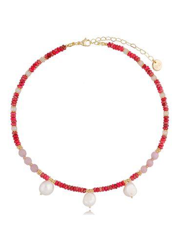 Naszyjnik z perłami i różowym jaspisem Sunset NPA0350