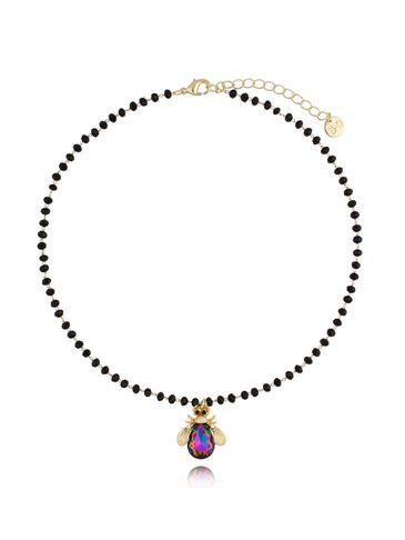 Naszyjnik żuk z fioletowym połyskującym kryształem NMI0074