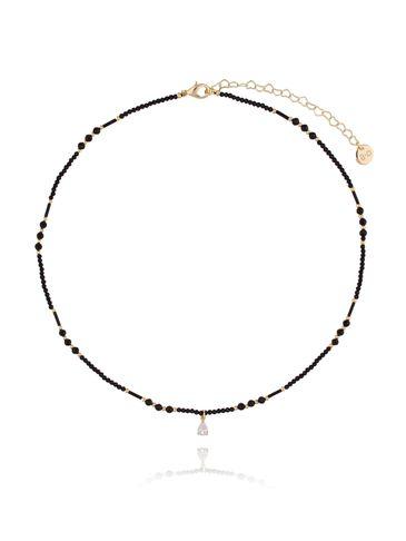 Naszyjnik czarny z kryształkiem NTW0088