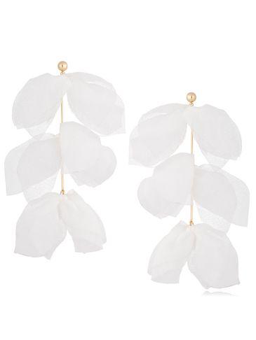 Kolczyki jedwabne kwiaty białe KBL0692