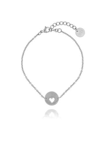 Bransoletka srebrna z sercem ze stali szlachetnej BSA0070