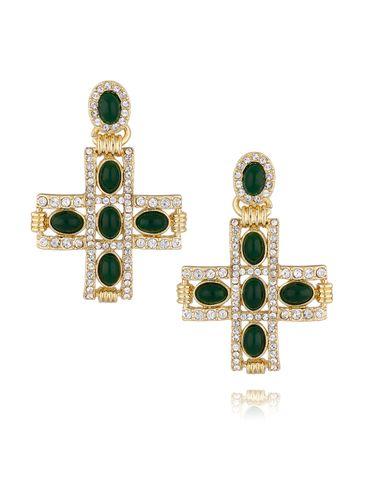 Kolczyki złote krzyżyki z zielonymi kryształkami KU0014