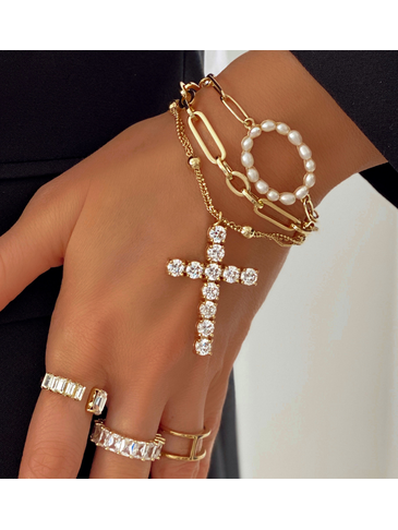 Bransoletka złota z kółkiem z perełkami BPE0030