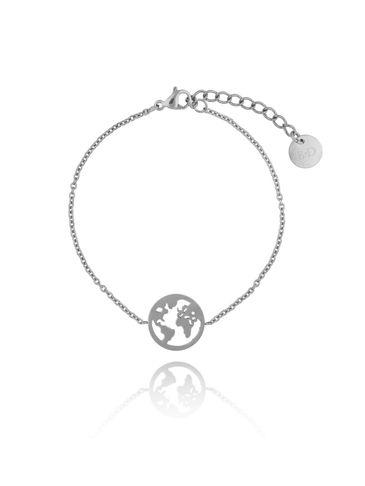 Bransoletka srebrna z  Ziemią ze stali szlachetnej BSA0093
