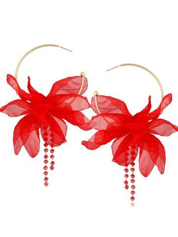 Kolczyki jedwabne kwiaty połyskująca mocna czerwień KBL0819