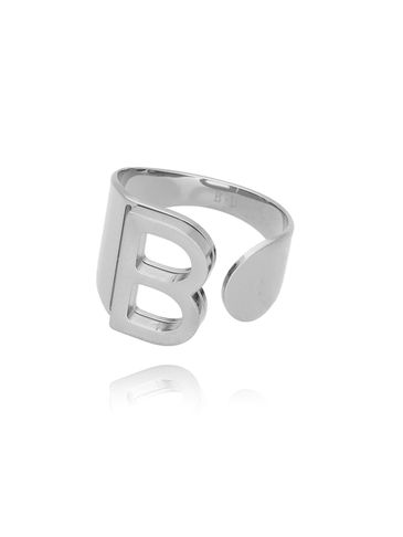 Pierścionek srebrny ze stali szlachetnej z literką B PSA0040