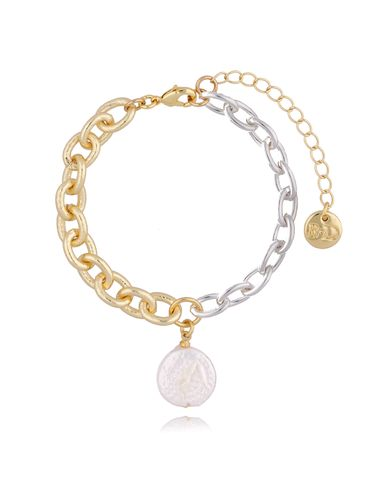 Bransoletka złoto srebrna z perłą BSL0003