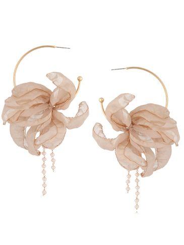 Kolczyki jedwabne kwiaty połyskujące beżowe KBL0810