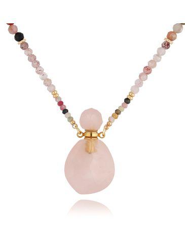 Naszyjnik perfumetka długa z kwarcem różowym NPA0205