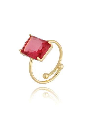 Pierścionek złoty z różowym kryształowym oczkiem PTO0010