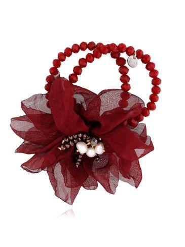 Bransoletka z kryształkami i  bordowym kwiatem  BBL0121