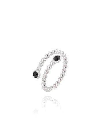 Pierścionek srebrny z czarnymi kryształkami PRG0074 rozmiar 13