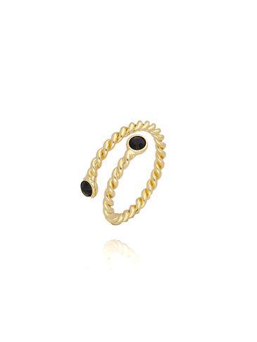 Pierścionek złoty z czarnymi kryształkami PRG0075 rozmiar 14