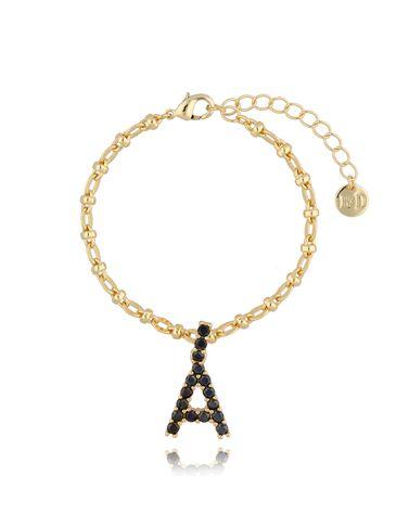 Bransoletka złoty łańcuch z zawieszką litera A BRG0143