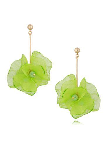 Kolczyki kwiaty neonowe zielone KBL0658