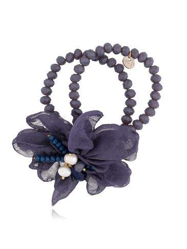 Bransoletka z kryształkami i  granatowym kwiatem  BBL0126