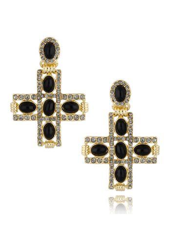 Kolczyki złote krzyżyki z czarnymi kryształkami KU0018
