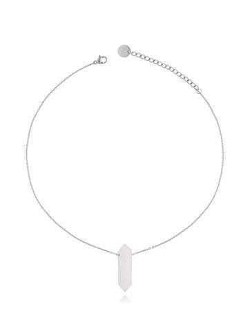 Naszyjnik z białym jadeitem srebrny 35 cm NLB0070