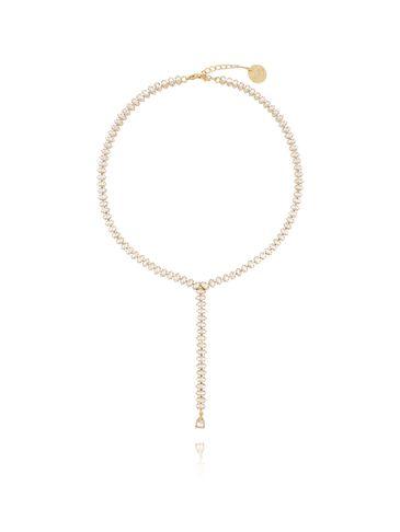 Naszyjnik  złoty ze srebrnymi kryształami  NS0013