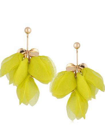 Kolczyki jedwabne kwiaty żółte KBL0778