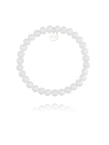 Bransoletka z białymi połyskującymi kryształkami BBL0210
