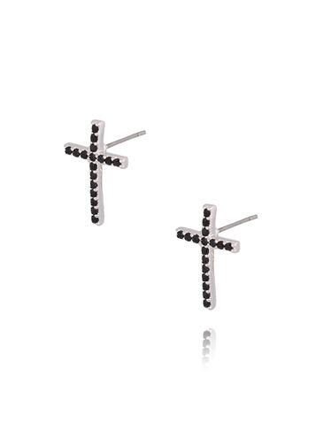 Kolczyki krzyżyki srebrne z czarnymi cyrkoniami KRG0564