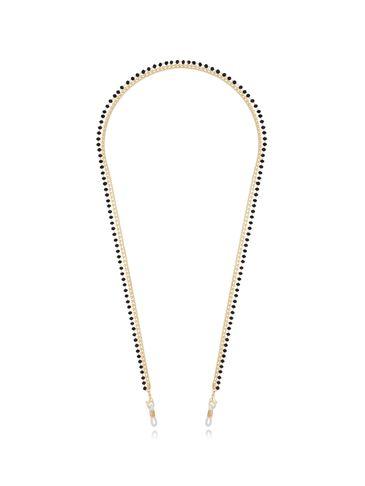 Łańcuszek do okularów z czarnymi kryształkami złoty NRG0351