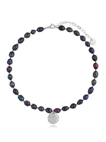 Naszyjnik z ciemnych pereł z zawieszką Dark Pearls & Moon NPE0090