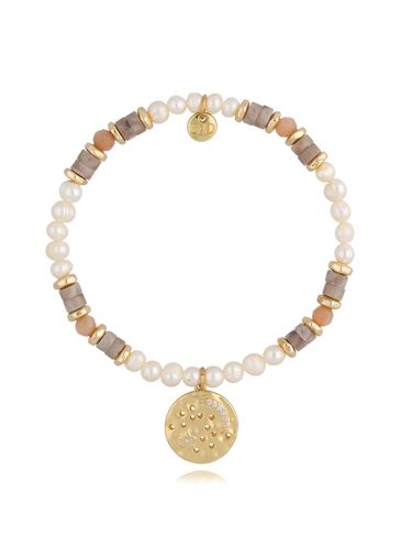 Bransoletka z  perłami beżowo szara BSC0808