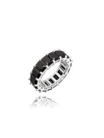 Pierścionek srebrny z czarnymi kryształkami PRG0068 rozmiar 13