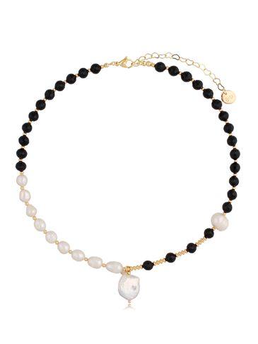 Naszyjnik z agatami i perłami NPA0346