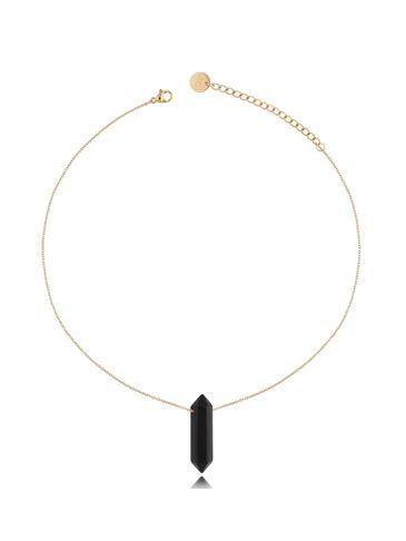 Naszyjnik z czarnym agatem złoty 35 cm NLB0072