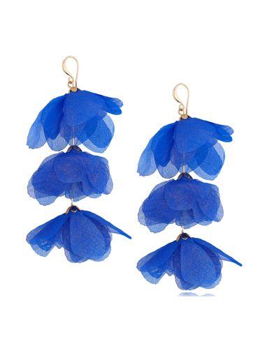 Kolczyki jedwabne kwiaty potrójne niebieskie KBL0796