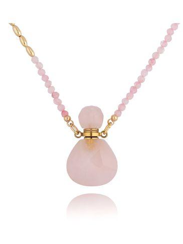 Naszyjnik perfumetka mała różowa z kwarcem NPA0129