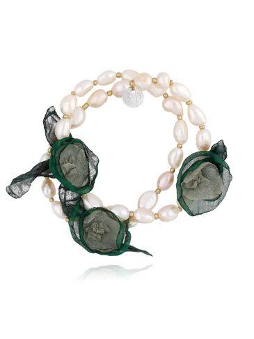 Bransoletka z perłami i zielonymi kwiatami  BBL0151