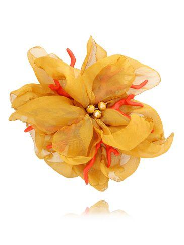 Broszka kwiat  z koralowcem  żółta BRBL0007