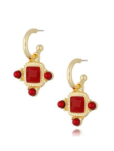 Kolczyki kryształowe wiszące czerwone Renesans KTO0035