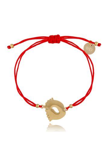 Bransoletka złoto-czerwona ze stopami Funny BGL0513